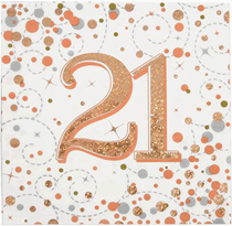 Sparkling Fizz 21st Birthday Rose Gold Napkins 16pk
