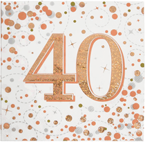 Sparkling Fizz 40th Birthday Rose Gold Napkins 16pk