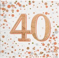 Sparkling Fizz 40th Birthday Rose Gold Napkins 16pk