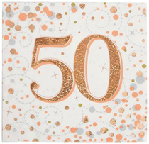 Sparkling Fizz 50th Birthday Rose Gold Napkins 16pk