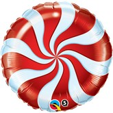 "Red Candy Swirl 18"" Foil Balloon"