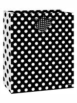 Medium Midnight Black Polka Dot Gift Bag