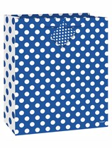 Medium Royal Blue Polka Dot Gift Bag