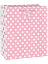 Large Lovely Light Pink Polka Dot Gift Bag