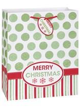 Merry Christmas Glitter Dots Large Gift Bag