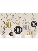 Gold Celebration 30th Birthday Hanging Swirl Decorations 12pk