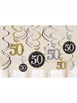 Gold Celebration 50th Birthday Hanging Swirl Decorations 12pk
