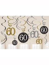 Gold Celebration 60th Birthday Hanging Swirl Decorations 12pk