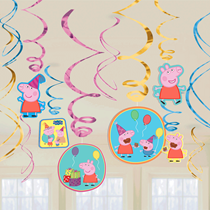 Peppa Pig Hanging Swirl Party Decorations 12pce