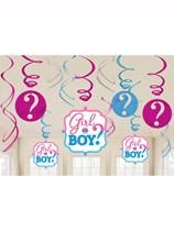 Gender Reveal Boy or Girl Hanging Swirl Decorations 12pk