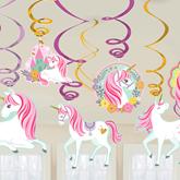 Magical Unicorn Swirl Decorations 12pce