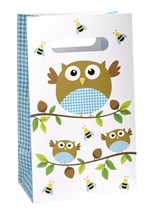 Little Owls Blue Paper Party Bags 5pk