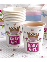 Little Owls Baby Girl Paper Cups 8pk