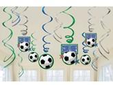 Football Hanging Swirl Decorations 12pk