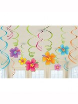 Luau Party Hanging Swirl Decorations 12pk