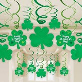 St. Patrick's Day Hanging Swirl Decorations 30 Pieces