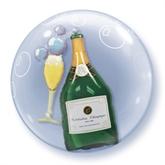 "Bubbly Wine Bottle & Glass Double Bubble Balloon 24"""