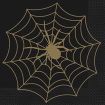 Halloween Black & Gold Spiderweb Napkins 16pk