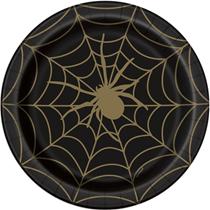 "Halloween Black & Gold Spiderweb 9"" Plates 8pk"