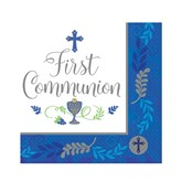 First Communion Blue Lunch Napkins 36pk