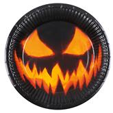 Halloween Creepy Pumpkin 23cm Paper Plates 6pk