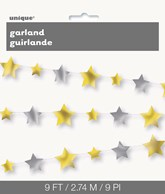 Silver and Gold Stars 9ft Garland