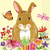 Floral Easter Rabbit Napkins 16pk