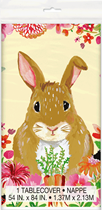 Floral Easter Rabbit Plastic Tablecover