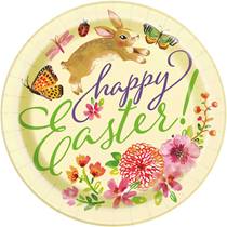"""Floral Happy Easter 9"""" Paper Plates 8pk"""