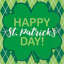 St Patrick's Argyle Clover Napkins 16pk