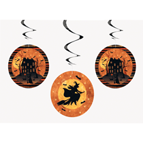 Halloween Witch & Haunted House Swirl Decorations 3pk