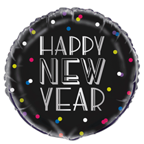 """Happy New Year Neon Dots 18"""" Foil Balloon"""