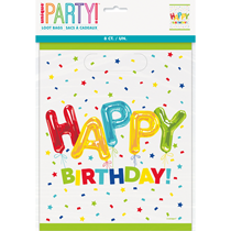 Happy Balloon Birthday Party Bags 8pk