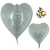 "Holographic Silver 3D Heart 23"" Foil Balloon"