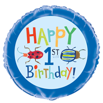 "Happy 1st Birthday Bugs 18"" Foil Balloon"