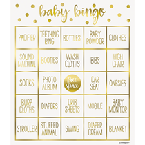 Gold  Foil Stamped Baby Bingo For 8 People