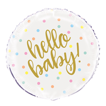 "Hello Baby Polka Dots 18"" Foil Balloon"