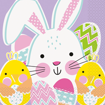 Easter Rabbit & Chick Paper Party Napkins 16pk