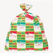 Christmas Holly Santa Jumbo Plastic Gift Bag & Tag