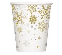 Christmas Silver & Gold Snowflake 9oz Cups 8pk
