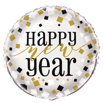 "Happy New Year Silver 18"" Foil Balloon 12pk (Loose)"