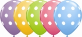 "Asst'd Colour Polka Dot 11"" Latex Balloons 6pk"