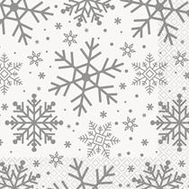 Christmas Silver Snowflake Lunch Napkins 16pk