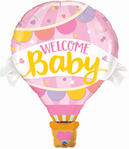"Welcome Baby Pink Hot Air 42"" Foil Balloon"