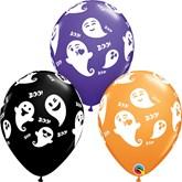 "Halloween Emoticon Ghosts 11"" Latex Balloons"