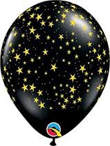 "Onyx Black With Yellow Stars 11"" Latex Balloons 25pk"