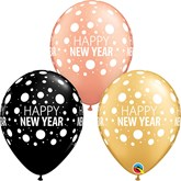 Happy New Year Rose Gold,Black & Gold Latex Balloons 25pk