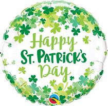 "St Patrick's Day Shamrock Confetti 18"" Foil Balloon"