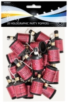 Birthday Glitz Holographic Party Poppers 20pk - Pink