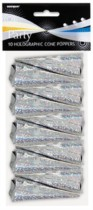 Silver Holographic Cone Poppers 10pk